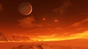 Exomoon of binary red dwarfs #4 by nirklars