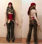Pantalon en lin et serre-taille reversible (rouge) by Le-Papillon-57