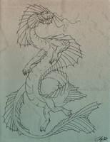 Waterdragon Lineart by SunStateGalleries