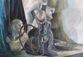still life with silver dummy by laudia