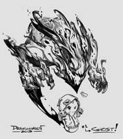 Drawlloween #01 - Ghost by suburbbum