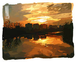 Color Study of My city at Dusk | Made in Krita by MarTs-Art