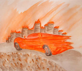 Flaming Corvette by effaced