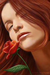 Ulya and The Red Rose by egher