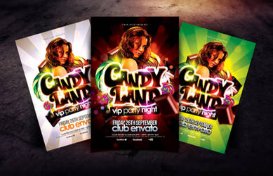 Candy Land VIP Party Night Flyer Template by Dannygdesigns