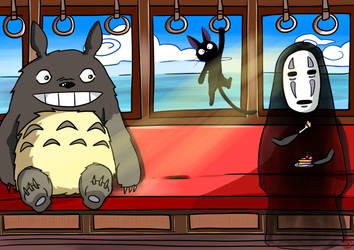 On a trip with Totoro, No-face, and Jiji. by SteampoweredMatoki