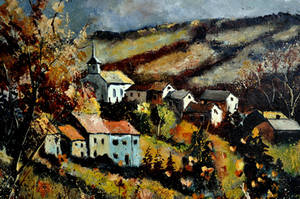 village in fall by pledent