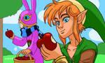 Link and Ravio pick up apples by Cesar-Hernandez