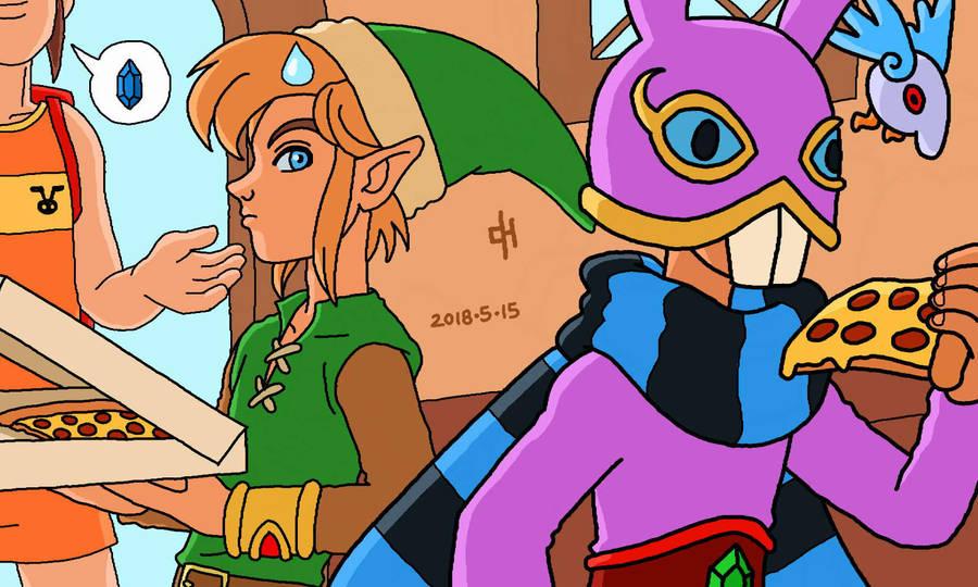Link and Ravio order pizza by Cesar-Hernandez