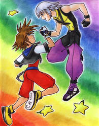 Sora and Riku Rainbow by Cesar-Hernandez