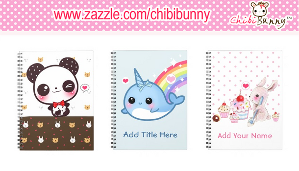 Customizable kawaii notebooks by BunnyAndI