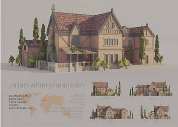 Italian winery/mansion (architecture) (LOWPOLY) by NoNArtArtist