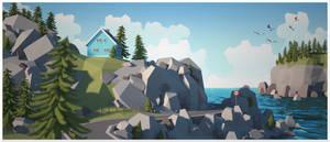 Norwegian landscape (LOWPOLY) by NoNArtArtist