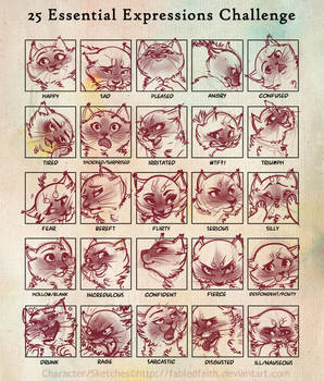 25 Expressions Challenge by FabledFaith