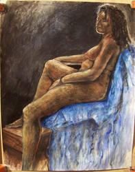 Nude on Blue by kidkovdrop