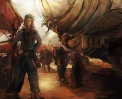 airship loading by WanderingInPixels