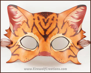 Brown Tabby Cat handmade leather mask by EirewolfCreations