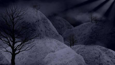 Mountian moon scene by Printul