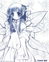 08-29-05: Blue Flower Girl by WhiteCinna