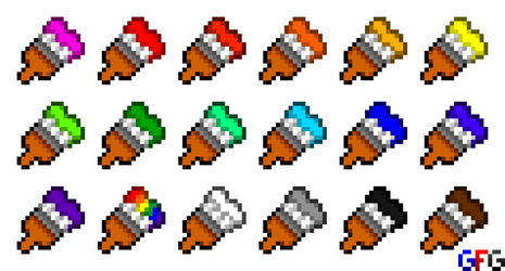 Pixel Paintbrushes by GamersFanMedia
