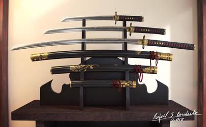 Samurai Blade Set (Katana, Wakizashi, Tanto) 1/7 by SgtHK