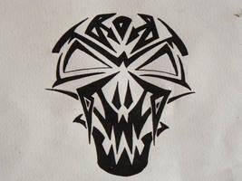 Tribal vampire skull by PixelFetish
