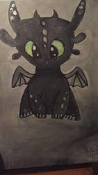 Toothless cute painting by Makkialientje