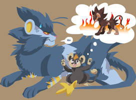 luxray and litleo by Appletail