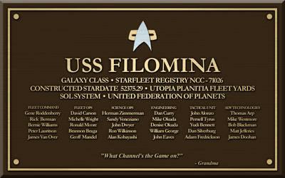 U.S.S. Filomina Plaque by SpiderTrekfan616