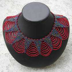 red and iris beaded collar by Polychroia