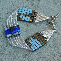 bracelet, cubes, hematite and crystal by Polychroia