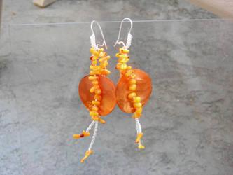 orange coral earrings by Polychroia