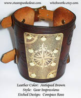 Wristcuff -Etched Compass Rose by Steampunked-Out