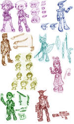 Character design roughs by SirElectricPants101