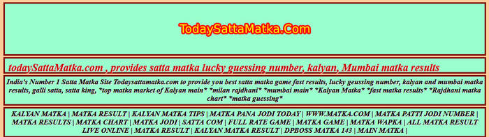 Satta King Lucky number and dpboss and kalyan matka result and
