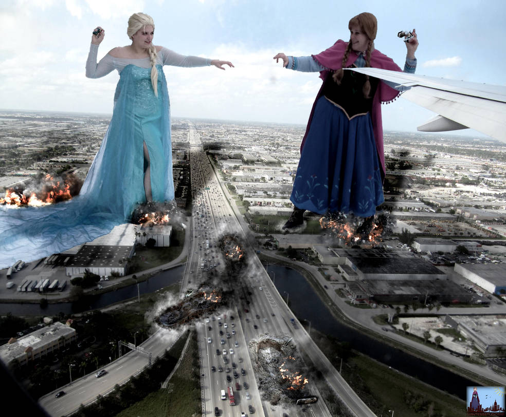 Mega Giantess Anna And Elsa's Snowball Substitute by GiantessStudios101