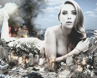 Mega Giantess Scarlett Johansson  by GiantessStudios101