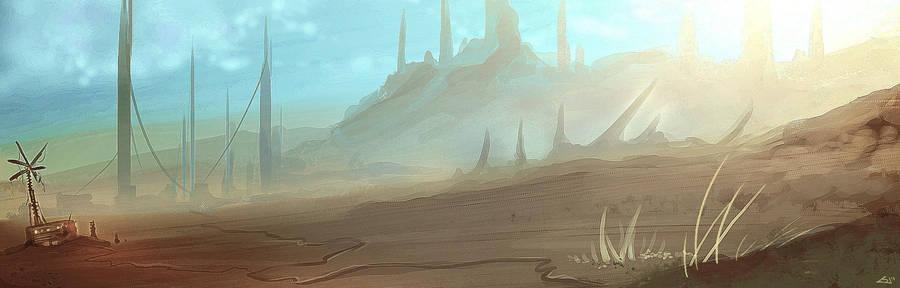 scifi desert landscape by Bawarner