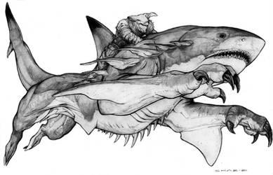 Lemurian Panther Shark War Steed by ChuckWalton