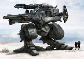 RIFTS  NG GUNBOT Robot Killer Color render by ChuckWalton