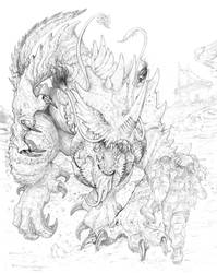 RIFTS Bestiary NA Volume 1 Cover pencils by ChuckWalton