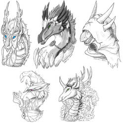 Flight Rising Dragon headshot group 2 by Samishii-Kami