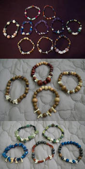 Bone, Stone, and Wood Bracelets by Samishii-Kami