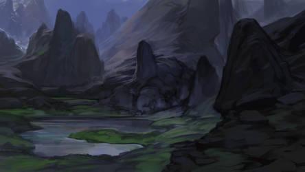 Fantasy landscape sketch by noahbradley