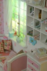 Wooden Diorama Pink Flower by A.N. 003 by Rosen-Garden