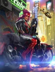 Shadowrun Female Street Samurai or Rigger by raben-aas