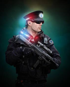Shadowrun HanSec Cop by raben-aas