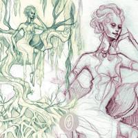 commission: elven queen - sketch by anja-uhren