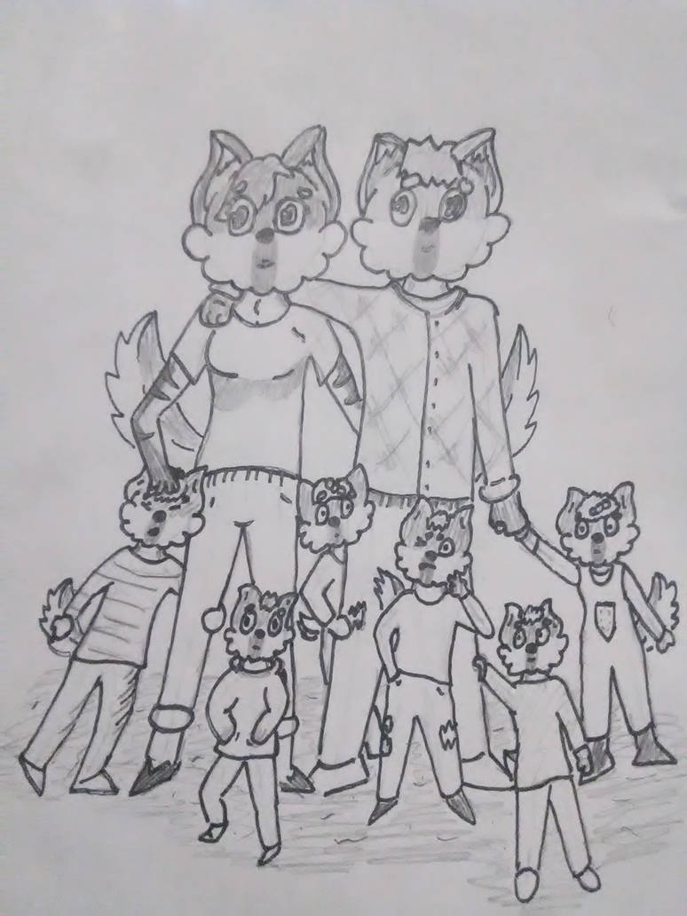 Fursona and family by cravyeric