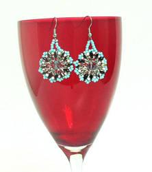 Handmade Blue Beaded Superduo Earrings by saretta13